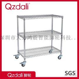 镀铬不锈钢线网可移动货架家用置物展示架带轮子