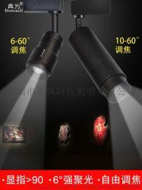聚光博物馆画展LED轨道射灯7W可变焦6-60度