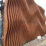 餐廳天花吊頂鋁合金弧形造型木紋鋁方通方管加工定製