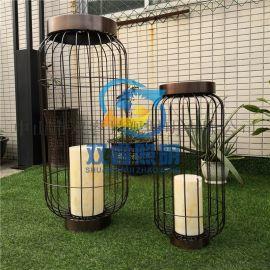 别墅室外特色鸟笼形落地灯仿云石欧式厂家定制草坪灯