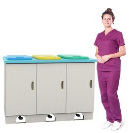 SKH040-11 三联脚踏污物柜 医疗废物柜