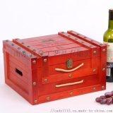 鉚釘款六只裝紅酒木盒包裝創意抽繩