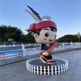 佛山玻璃钢雕塑 民族民风人物雕塑 广场景观摆件