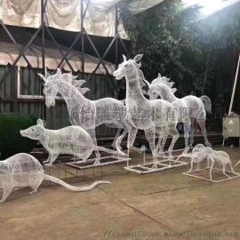 工厂供应铁艺镂空鹿雕塑,动物雕塑,城市广场大型雕塑