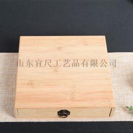 单层原木色茶饼包装木盒竹木质抽拉普洱茶叶礼盒