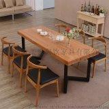 小吃店餐桌椅,橡胶木一桌四椅,公司食堂餐桌椅跳楼价