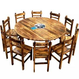 炭化木餐桌酒店农家乐火锅桌炭烧实木餐桌椅