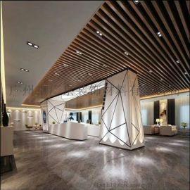 室内集成吊顶仿木纹条形铝格栅天花