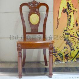 联肯家具厂家直销韩式简约酒店真皮餐椅靠背椅子实木客厅无扶手椅子休闲椅