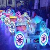 山西运城夜晚广场发光碰碰车吸引好多人排队玩耍