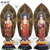 彩绘释迦牟尼佛 生漆脱胎娑婆三圣佛像 大势至菩萨