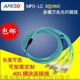 爱普斯特MPO-MPO-LC/MTP万兆多模8 12 24芯40G100G模块连接线OM3