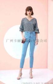 广州 品牌折扣女装传统民族风牛仔裤女装尾货批发走份