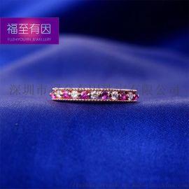 福至有因珠宝️/18K金镶钻石间祖母绿红宝石戒指