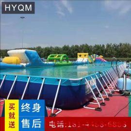 户外大型游泳池定制充气水池海洋球池充气游泳池手摇船电动船水池