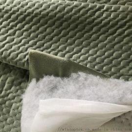 工厂直销天鹅绒夹棉面料 床上用品软包布 家纺面料