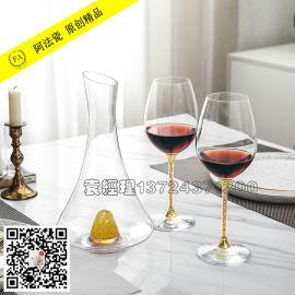 金箔无铅水晶红酒杯套装礼品