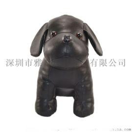 定制黑色pu皮革动物公仔 新款卡通pu小狗玩偶娃娃
