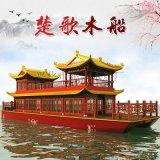 四川木船厂家销售木船餐饮船观光餐饮船图片