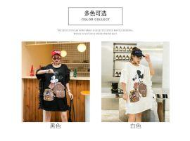 韩版新款女士短袖体恤衫女装连衣裙女裙子亮片中长款T恤女