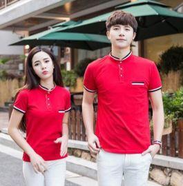 夏季纯色广告衫工作服情侣班服纯棉短袖t恤立领男士POLO衫印logo