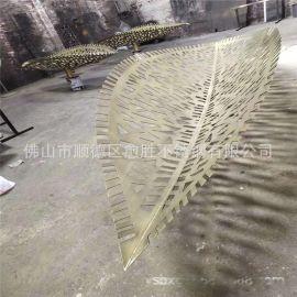 拉丝做旧不锈钢叶子雕塑 公园不锈钢水景仿真雕塑
