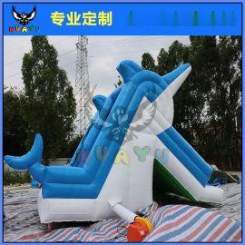 大型儿童充气滑滑梯海豚滑梯气模水上玩具组合设施成人戏水乐园