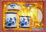 陶瓷會議杯辦公室水杯商務禮品杯 芙蓉三件套茶杯筆筒菸灰缸
