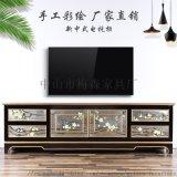 新中式花鳥簡約電視櫃手繪實木櫃子貼銀箔櫃子