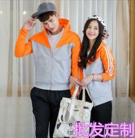 情侣装冬季韩版新款学生运动装棒球装套装加绒厚冬装班服校服LOGO