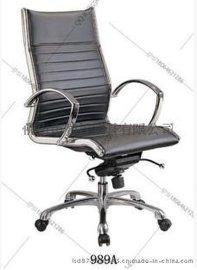 顺德厂家直销豪华多功能地盘抛光铝合金脚PU皮办公椅可定做真皮