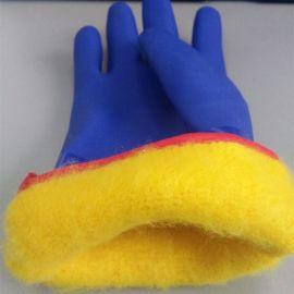 防寒手套 蓝色PVC浸胶砂面开司米拉毛内套 防滑保暖防油耐磨 山东顺兴劳保厂家