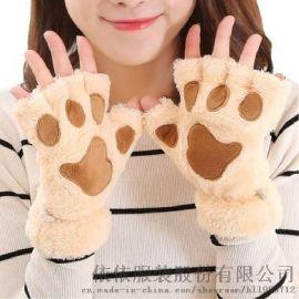 手套女冬季韩版学生卡通加绒猫爪