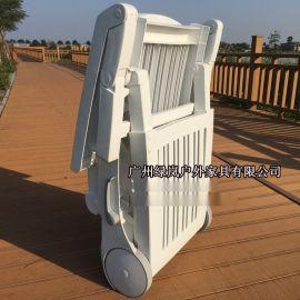 厂家直销折叠躺椅游泳池酒店白色塑料躺椅**户外沙滩椅