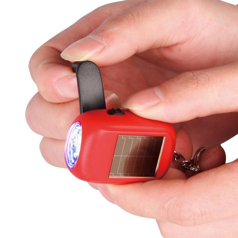创意迷你手电筒钥匙扣家用应急照明小手电太阳能手摇充电