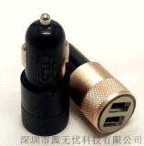 厂家直销铝合金外圈车充双口USB车载充电器 3.1A小钢炮车载充电器车充汽车点烟器