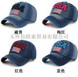 外貿牛仔布USA字美國國旗棒球帽鴨舌帽 遮陽帽