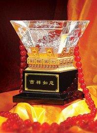 水晶纪念品,水晶摆饰,吉祥如意金斗
