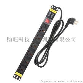 购旺PDU机柜插座 万用孔接线板  过载保护 W1