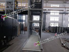 广东包装箱提升机,大型仓储中心物流滚筒线升降机设备