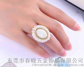 女士款珍珠开口戒指定制/复古流行珍珠开口戒指