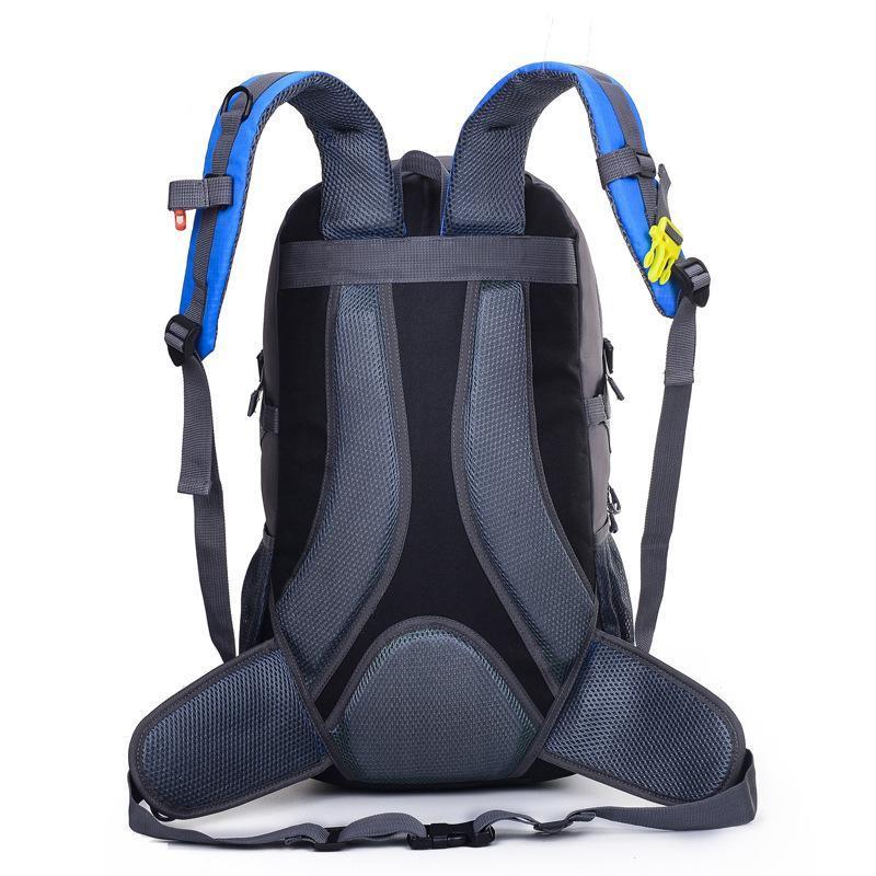 现货2019春季新款时尚运动中性双肩背包徒步包纯色户外撞色背包