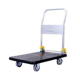 厂家供应塑料折叠平板车手推四轮小推车手拉拖车拉货搬运加厚批发
