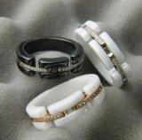 黑白鑲鑽陶瓷戒指不變形鍍玫瑰金
