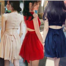 夏季女韩版修身红色性感显瘦无袖露背心裙收腰雪纺连衣裙