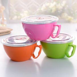 不锈钢泡面杯带盖韩式保鲜盒双层隔热泡面碗