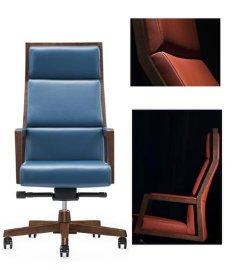 大班椅图片,木制老板椅价格,经典木制办公椅批发,木框架真皮大班椅