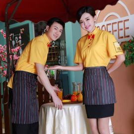 酒店工作服套裝餐廳咖啡店制服新款服務員短袖工作服黃色新款