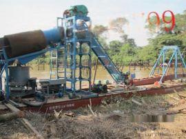 越南挖掘分选一体淘金船 缅甸水上选金平台