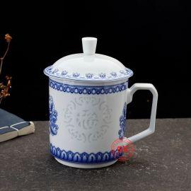 中式青花玲珑茶杯定做礼品